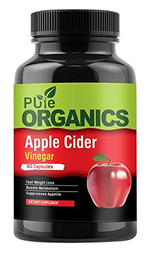 Pure Organics Apple Cider Vinegar Capsules - 60 Count - Extra Strength Appetite Suppressant Pills for Weight Loss - Cleanse & Detox Diet Supplement for Men and Women