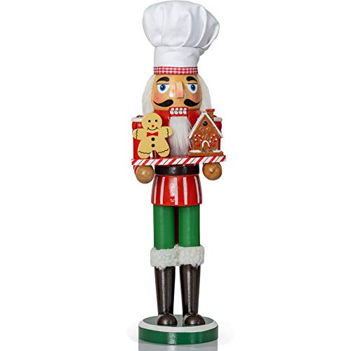 Ornativity Christmas Chef Nutcracker Figure – Wooden Chef Hat Nutcracker with Gingerbread Man and House Holiday Decoration