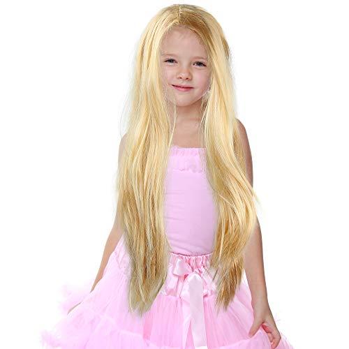 Skeleteen Long Blond Princess Wig - Blonde Kids Pretend Play Costume Accessories Princess Wigs for Children