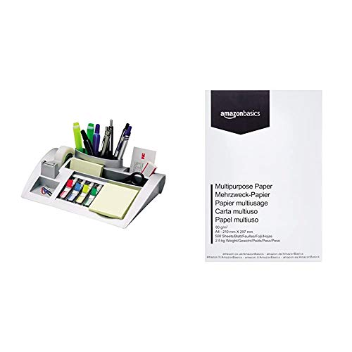 3M Post-it C50 - Organizador de escritorio – 1 bloc de notas, 4 x 35 Marcadores Index y 1 cinta adhesiva Scotch Magic, plateado + AmazonBasics Papel multiusos impresora A4 80gsm, 500 hojas, blanco