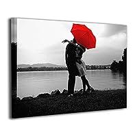 Skydoor J パネル ポスターフレーム 赤い傘 カップル インテリア アートフレーム 額 モダン 壁掛けポスタ アート 壁アート 壁掛け絵画 装飾画 かべ飾り 30×40
