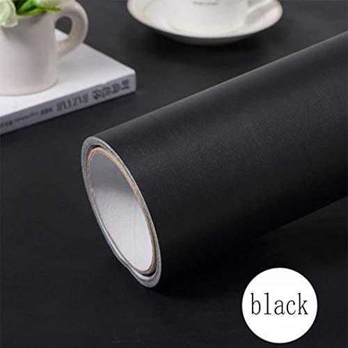 Papel pintado de mármol negro de grano de madera autoadhesivo impermeable para armarios de cocina, encimeras, PVC, vinilo adhesivo de pared papel de contacto, negro mate, 60cmX3m