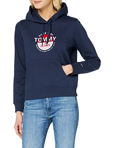 Tommy Jeans Tjw Essential Logo Hoodie Suéter, Azul Marino Crepúsculo, M para Mujer