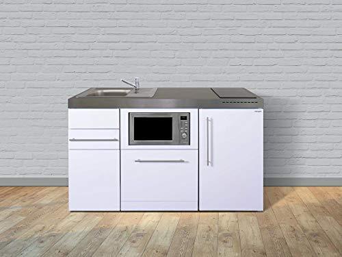 Stengel Miniküche Premiumline MPGSM 150 Kleinküche mit Kühlschrank, Geschirrspüler, Mikrowelle und Glaskeramikkochfeld, Pantryküche, Singleküche - Farbe: weiß/Breite: 150cm