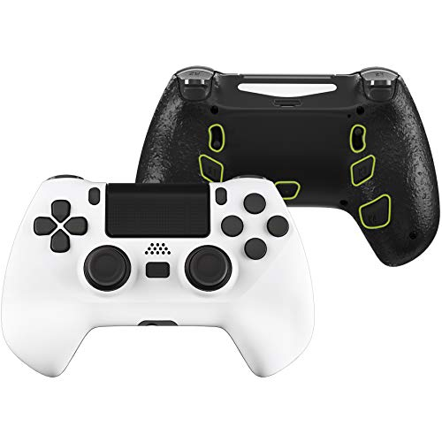 eXtremeRate White Decade Tournament Controller (DTC) Upgrade Kit for PS4 Controller JDM-040/050/055, Upgrade Board & Ergonomic Shell & Back Buttons & Trigger Stops - Controller NOT Included