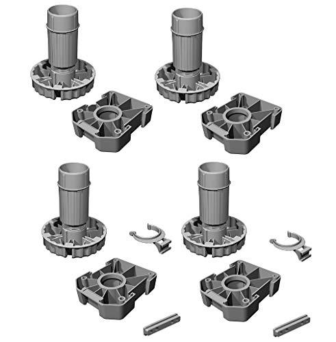 Gedotec Möbelfüße Küchen-Unterschrank Sockelfüße höhen-verstellbar Kunststoff schwarz | Stellfuß mit Höhe 120 mm | KOMPLETT SET | Verstellfüße 500 kg Tragkraft | 4er Set - Schrank-Füße für Möbel