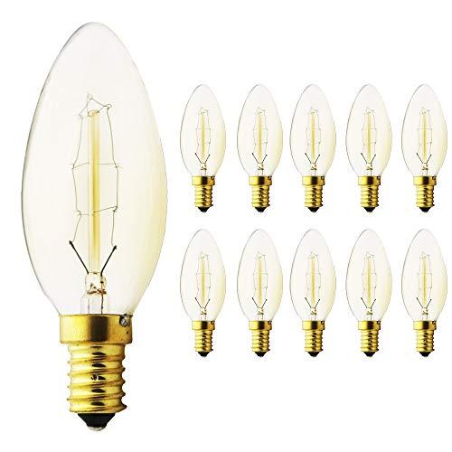 Lot de 10 ampoules Edison E14 à intensité variable - 40 W - C35 - En forme de torpille - Blanc chaud