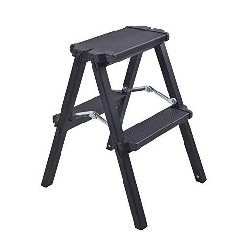 Multi-Funktions-Engineering-Leiter, Faltbarer Schritt Hocker, Hauserweiterung Leiter, Thick-Leiter aus Aluminium (schwarz) Stabilität und Sicherheit (Size : 2 Step)