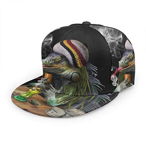 Baseball Cap Leguana Smoke Cannabis Funny Weed Marihuana Unisex 3D Hip Hop Snapback Flat Brim Hat Baseball Caps Schwarz