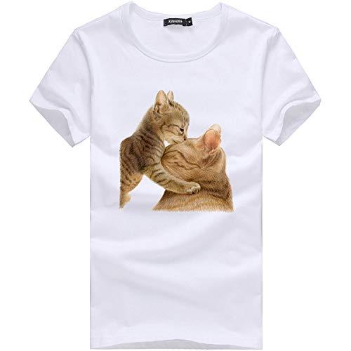 Routefuture-Tendance Vêtements pour Femmes Impression Grand Format T-Shirt Top Avoir l'amour avec des Chatons Madame T-Shirt À Manches Courtes