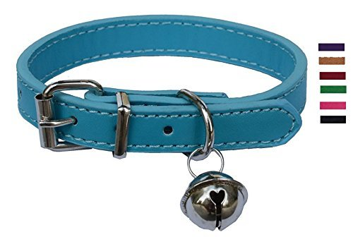 Turquoise Blue Leather Pet Collars for Cats Puppy, Adjustable 8