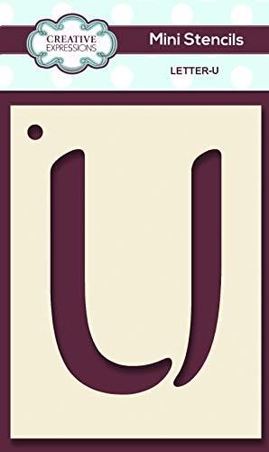 Creative Expressions Mini Stencil Upper Case Letter U Plantilla para Estarcido (tamaño pequeño), diseño de Letra U, 10.4 x 7.4 cm