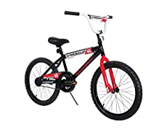 """Boys BMX street/dirt bike with coaster brakes Handlebar pad Tough steel frame with kickstand Lifetime warranty on frame and fork Bike Dimensions 35"""" x 26"""" x 54"""",  26.95 pounds.Tire Size: 20 inch x 1.95 inch Recommended Ages 6 to 10; up to 105 lbs."""
