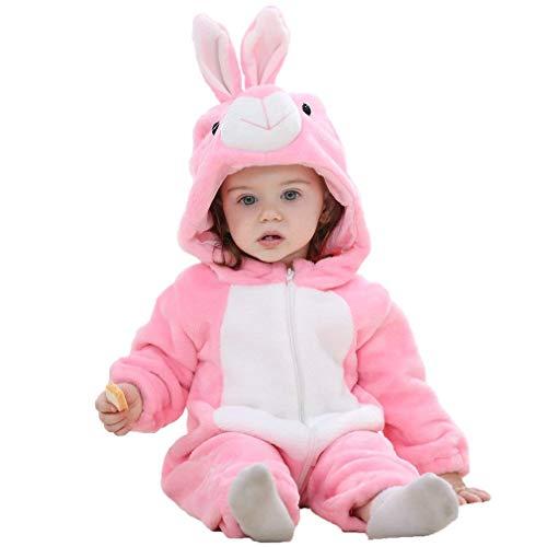 Baby Hasenkostüm Kostüm Overall Häschen Babykostüm Plüsch Strampler Hasen Tierkostüm Fasching Karnevalskostüm Faschingskostüm Tier Mottoparty Karneval Kostüme für Kinder Verkleidung