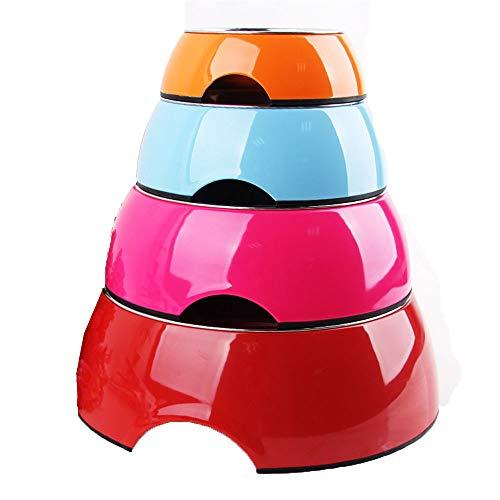 Happy Together Runder unifarbener Melamin-Edelstahl-Hundenapf aus rostfreiem Stahl, verschleißfestes Hundegeschirr für Hunde (größe : XL)