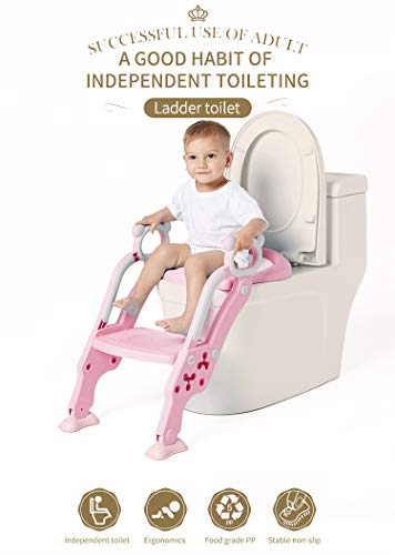 Blu Vasino Sedile Regolabile In Altezza Per Bambini Da 1 A 8 Anni Fascol Riduttore Wc Per Bambini Riduttore Wc Pieghevole Con Scaletta Riduttori Prima Infanzia