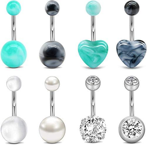 """Piercing Ombelico Acciaio Chirurgico 14G Cuore Diamant CZ Ombelico Perla Gioielleria per Donna Ragazza 3/8"""" 10mm Argento"""