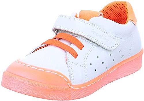 Froddo Kinder Sneaker G2130199-2 Halbschuh Lederschuh Freizeitschuh weiß neon- orange (White orange)