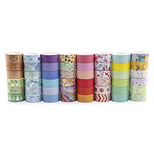 Ruban Adhésif Tape 48 Rouleaux pour Décoration Papier Ruban Bricolage Artisanat (ruban washi argent doré) BOMEI PACK