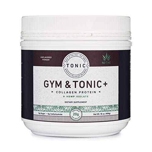 Tonic: Gym & Tonic Collagen Powder & Alternative to Whey Protein Powder, Paleo + Keto Friendly, Muscle Building, Bulletproof Collagen, Grass Fed, Hemp Isolate, 20 Servings