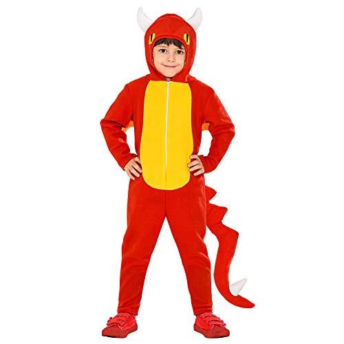 WIDMANN 03285 – Disfraz infantil de dragón, mono con capucha, alas, cola, escucha de fuego, animal, fiesta temática, carnaval