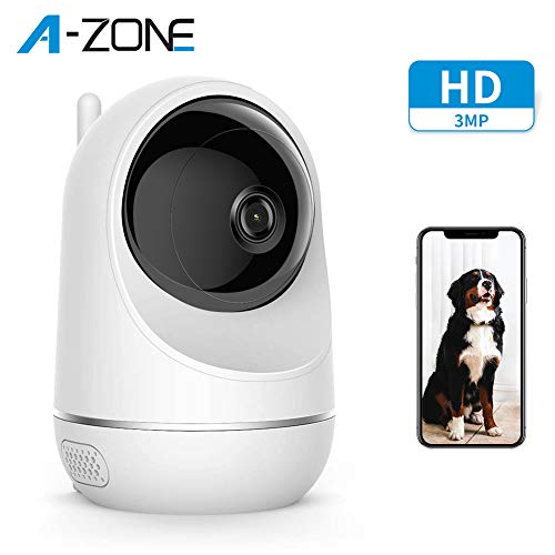 A-ZONE Baby Monitor, Wireless 3MP IP Camera with Baby Crying Motion Detection, Home Security Camera for Baby/Elder/Pet, Pan/Tilt, Two-Way Audio & Support Cloud Service, Works with Alexa Monitors
