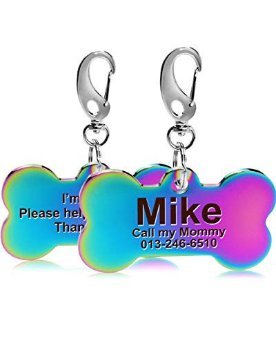 FunTags Front&Back Laser Engraved Dog Tag,1 Custom Large Dog Tags Personalized,Name Identification Pet ID Tags for Dogs&Cat,Rainbow Color