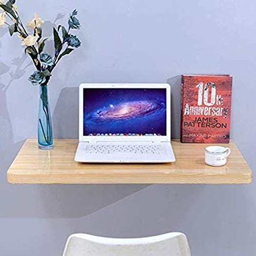 TRGCJGH Solid Wood Folding Table Wall-Mounted Table Against The Wall, Computer Desk Study Table Dining Table Foldable, Stainless Steel Support Frame,120 * 40cm(47.2 * 15.7in)