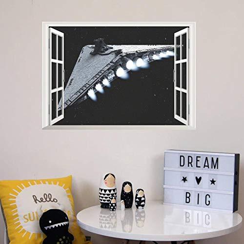 Raumschiff 3D Fenster Wandaufkleber Für Kinder Schlafzimmer Home Decoration Diy Jungen Abziehbilder Film Wandbild Kunst Pvc Poster