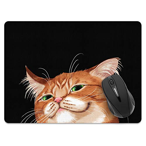 Extra Large (X-Large) Size Non-Slip Rectangle Mousepad, WIRESTER Smirking Orange Tabby Cat Mouse Pad for Home, Office and Gaming Desk