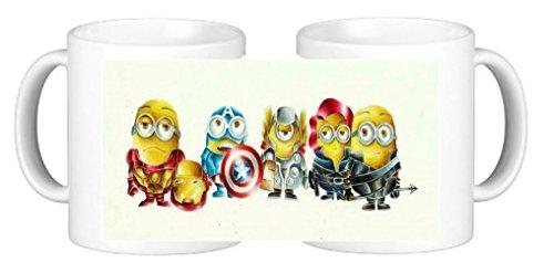 Super Heroes Minions personalizada taza de café de cerámica Plus posavasos exclusivo a personalisedjusdt4u