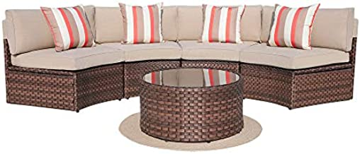 SUNSITT 5-Piece Half Moon Outdoor Sectional Sofa Set with Cover, Patio Brown PE Wicker Furniture with Beige Cushions & Tempered Glass Coffee Table
