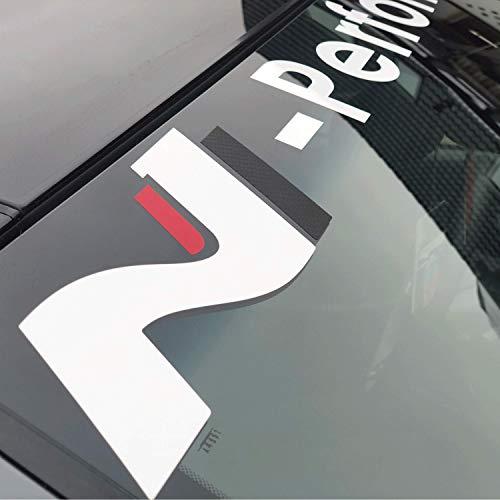 P041 | N Frontscheibenaufkleber | 120 cm x 12 cm | Performance Aufkleber | Scheibendekor | Frontscheibe | Decal | Rot Schwarz Carbon Weiß Grau (Carbon)