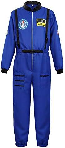 Men s Adult Astronaut Spaceman Costume Coverall Pilot Air Force Flight Jumpsuit Halloween Dress product image