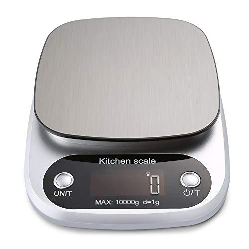 XIAOL Digitale Keukenweegschaal 10kg Voedselschaal Multifunctionele weegschaal Elektronisch Bakken Kookschaal Met LCD Display Zilver