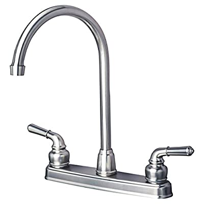 Laguna Brass 1201SS RV/Motorhome Two Handle Non-Metallic High Arc Swivel Kitchen Faucet, Brushed Nickel Finish by Laguna Brass