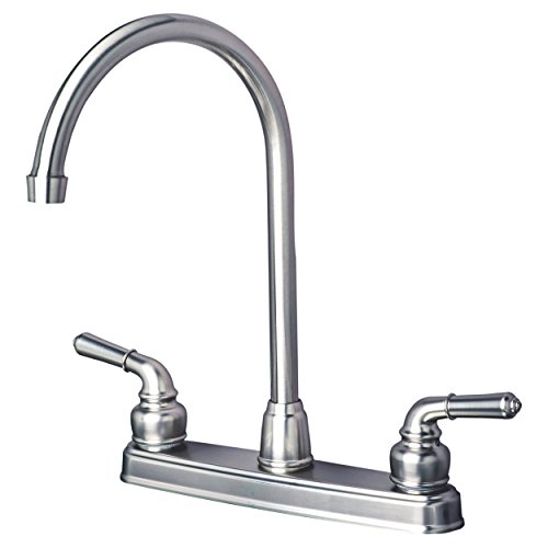 Laguna Brass 1201SS RV/Motorhome Two Handle Non-Metallic High Arc Swivel Kitchen Faucet, Brushed Nickel Finish