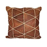 Moroccan Leather Pillow, 16'X16' Inch 40cm- 100% Natural Leather Cushion, Decorative Pillow, Hand Woven Pillow Cover, Moroccan Pillow, Turkish Pillow,Sofa Pillow,Moroccan Bedding Cusion