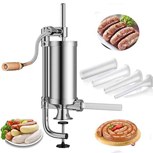 5.0 LB Máquina Salchichas de Acero Inoxidable - Práctica Máquina para Hacer Embutidos de Carne con Soporte Fijo y 4 Tubos de Rellenador - Capacidad 5.0 LB