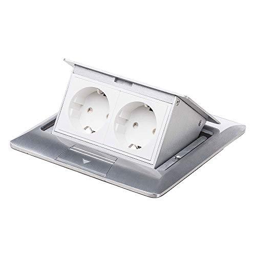 Einbausteckdose Fußbodensteckdose Steckdose Edelstahl für Boden & Wand versenkbar überfahrbar (2 x Steckdose eckig)