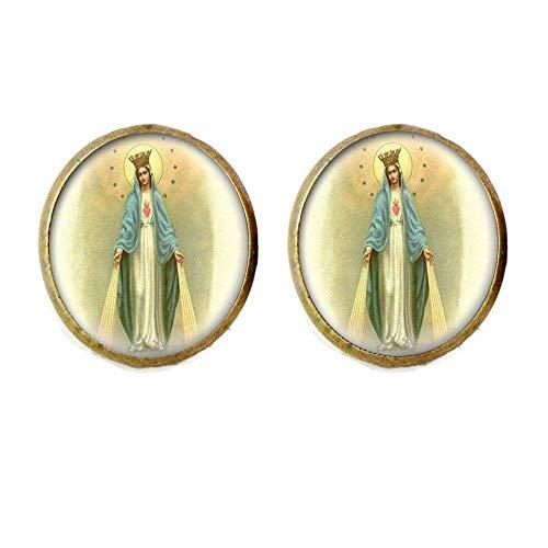 Pendientes de medalla de Virgen María para mujer, joyería de cristal