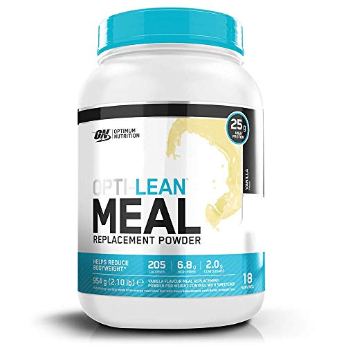 Optimum Nutrition Opti-Lean Meal Replacement Protein Powder with Vitamin B12, Vitamin C, Vitamin D and High Fibre. Low Sugar Meal Replacement Drink by ON - Vanilla, 18 Servings, 954g