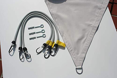 BlackOrange Dauerelastische Spanngurte - Expander (Ø 10 mm - 3 Stück - mit Befestigungsmaterial) für Sonnensegelbefestigung (Dreieck Sonnensegel)