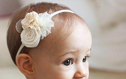 Diadema para niña con diseño de flores, diseño de ramo de tres flores, hecha a mano, diadema de bebé a adulto, de Golden Beam blanco marfil Talla:talla única