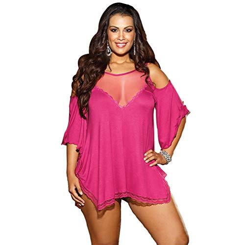 Wxxly Damen Lingerie Sexy V-Ausschnitt Nachthemd Spitze Negligee Unterwäsche Babydoll Set Erotik Sleepwear Kleid,Rose red,XXXXL