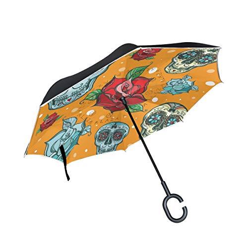 ISAOA Regenschirm mit C-förmigem Griff, selbststehend, von innen nach außen, handfrei