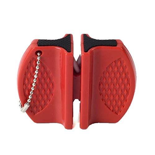 QiKun-Home Mini afilador de Cuchillos de Acero de tungsteno de Varilla de cerámica afilador de Herramientas de Cuchillo de Doble Cara Tipo Mariposa de Dos etapas Rojo