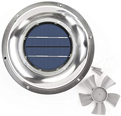 ECO LLC Solar Powered Roof Vent Stainless Steel 5-inch Fan Ideal for Roof Attic RV Boats 12 CFM from ECO LLC