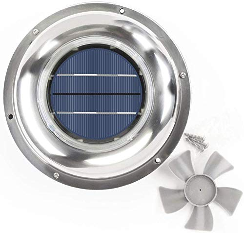 ECO LLC Solar Powered Roof Vent Stainless Steel 5-inch Fan Ideal for Roof Attic RV Boats 12 CFM