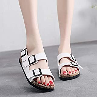 Comfy Cork Footbed Sandals, Open Toe Ladies Flats Casual Slides with Two Straps,E,35